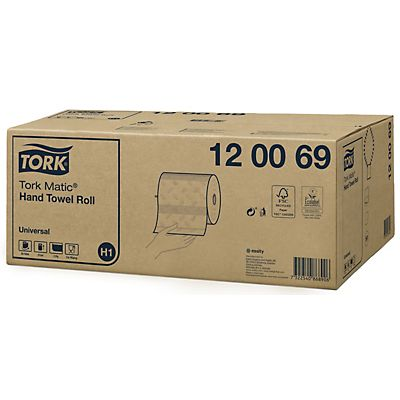 Tork Matic® Universal H1 Rollo de toallitas de papel, 2 capas, en relieve, 210 mm, blanco