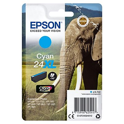 Epson 24XL, C13T24324012, Cartucho de Tinta, Claria Photo HD Ink, Elefante, Cian, Alta Capacidad