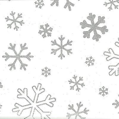 Carta Da Regalo In Fogli Fiocchi Di Neve Glitter 70 Gm² 70 X 100