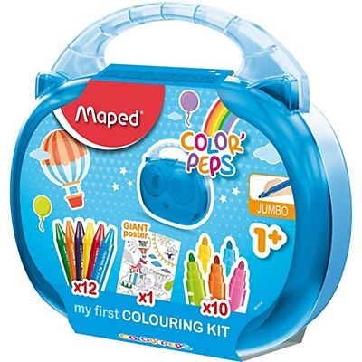 Maped ColorPeps My First Colouring Kit, Valigetta con 12 pastelli a cera Jumbo + 10 pennarelli Jumbo + Poster gigante, Colori assortiti