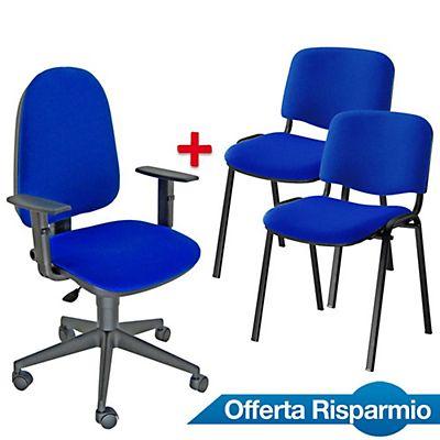 Offerta Risparmio 1 sedia operativa Sun blu + 1 coppia ...