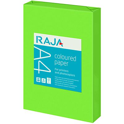 Staples Coloured paper Carta Colorata A4 per Laser e Getto dinchiostro 80 g/m² Verde brillante<BR> (confezione 500 fogli<BR><BR>)