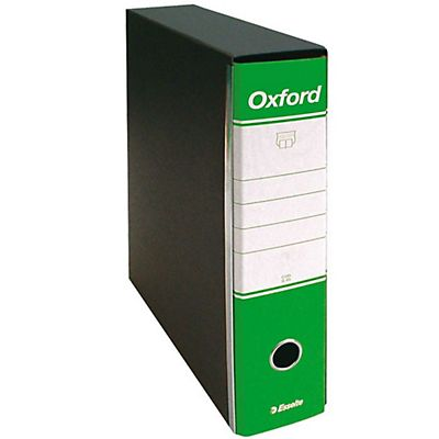 Esselte Oxford Registratore archivio, Formato Commerciale, Dorso 8 cm, Cartone, Verde