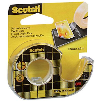 Scotch® Nastro biadesivo Trasparente 12 mm x 6,3 m Con dispenser manuale