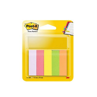 Post-it® Segnapagina Index formato piccolo 15 x 50 mm in colori neon assortiti, 5 confezioni da 100 670-5