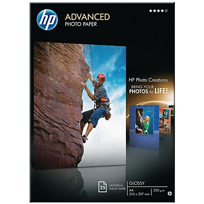 HP Advanced Carta Fotografica A4 Getto dinchiostro 250 g/m² Bianca Lucida 25 fogli