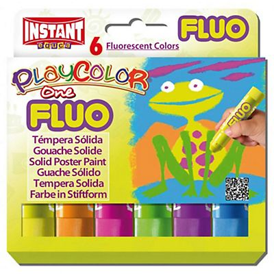 Istant Tempera solida in stick Playcolor - 10gr - colori fluo - Instant - astuccio 6 stick fluo