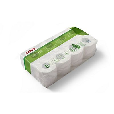Staples Sustainable Earth™ Rotolo di carta igienica standard, 2 veli, 250 fogli, Superficie goffrata, Riciclato, 96 mm, Bianco naturale