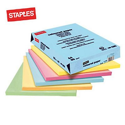 Staples Coloured paper Carta Colorata A4 per Laser e Getto dinchiostro 160 g/m² Giallo pastello<BR> (confezione 250 fogli<BR>)