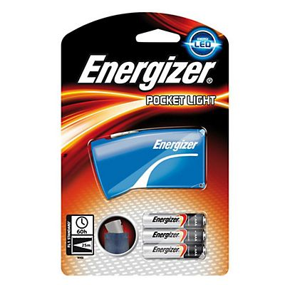 Energizer Flashlight Pocket Light, Torcia tascabile, LED blu, AAA (x3), Raggio di azione 25 m
