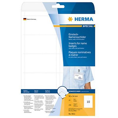 Herma Badge bianche cartone non adesive - F.to 90 x 54 mm