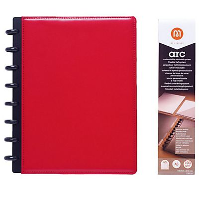 M by Staples Blocco ARC A5, 60 pagine a righe, copertina in pelle, rosso