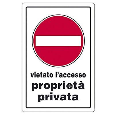 Cartello segnaletico vietato l 39 accesso propriet privata - Cartello pavimento bagnato ...