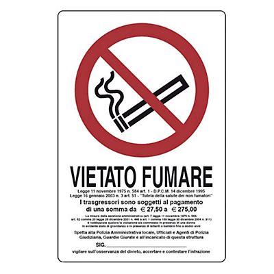 cartello divieto di fumare