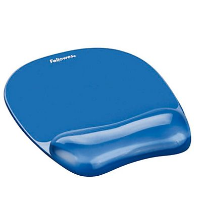 Fellowes Tappetino mouse con poggiapolsi in gel Crystal - blu
