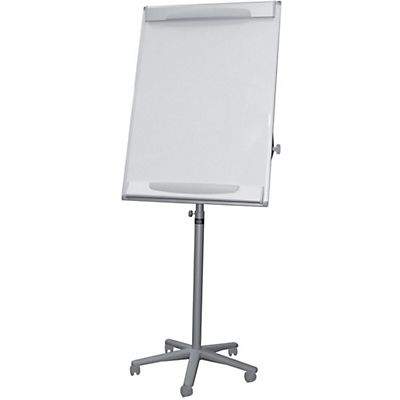 Bi-Office Lavagna portablocco mobile, Superficie magnetica cancellabile a secco, Cornice grigia, 700 x 1000 mm