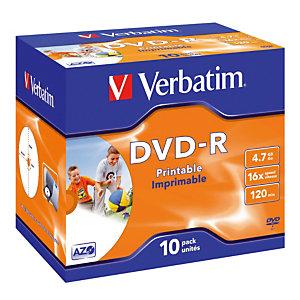 10 bedrukbare DVD-R 4,7 GB Verbatim AZO 16x