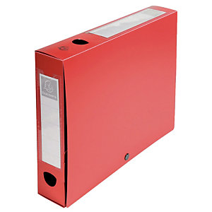 10 boîtes de classement dos 8 cm polypropylène coloris rouge