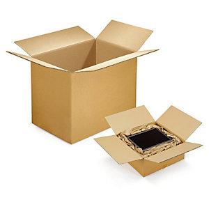 10 Caisses carton double cannelure RAJA 60x40x40 cm coloris brun