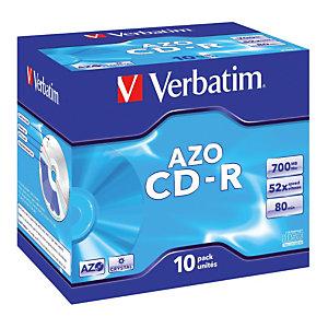 10 CD-R 700 MB Verbatim AZO Crystal standaard doosjes 52x