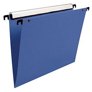 10 dossiers en polypropylène fond V  Esselte pour tiroirs coloris bleu
