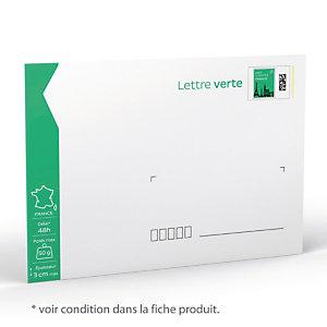 10 enveloppes prêt à poster 50 g Lettre Verte format 162 X 229 mm