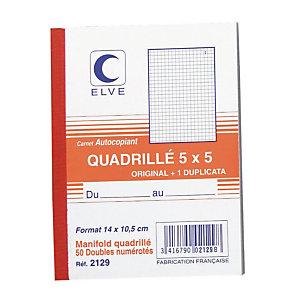 10 geruite doorschrijfboeken 2 exemplaren model 2129 formaat 14 x 10,5 Elve, per set