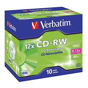 10 herschrijfbare CD-RW 700 MB Verbatim 8-12x