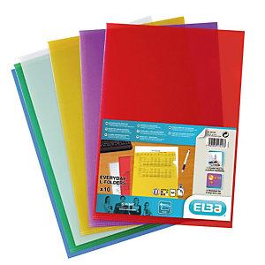 10 pochettes coin Elba transparentes polypropylène lisse 12/100ème coloris assortis