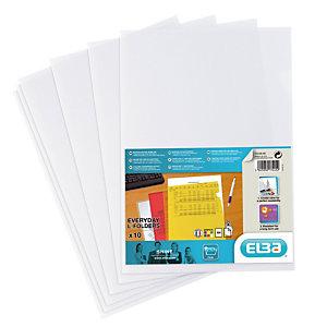 10 pochettes coin Elba transparentes polypropylène lisse 12/100ème incolores