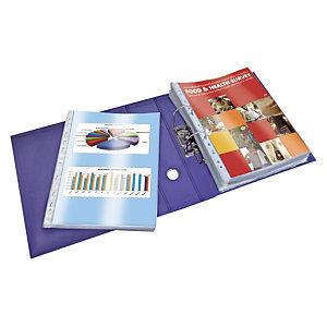 10 pochettes perforées PVC lisse 10/100e Elba coloris transparent, le lot
