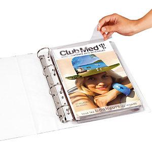 10 pochettes à soufflet avec rabat PVC 20/100e Elba coloris transparent, le sachet
