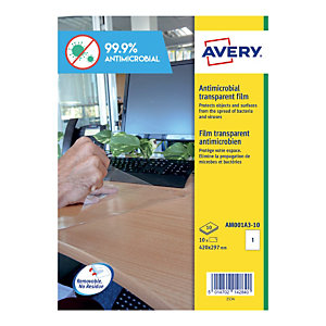 10 verwijderbare antimicrobiële polyester films afm. 420 x 297 mm formaat A3 transparant, per set