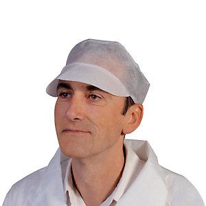 100 casquettes à usage unique blanche taille unique