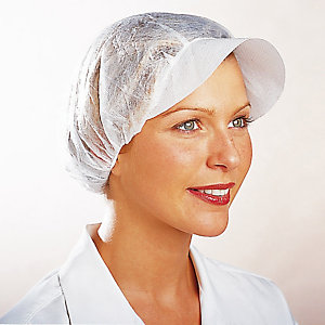 100 charlottes blanches type casquette contact alimentaire, taille unique
