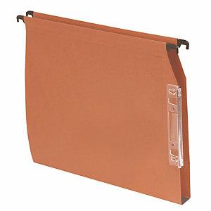 100 dossiers Kraft 220g 1er prix  fond 30 mm pour armoires coloris orange
