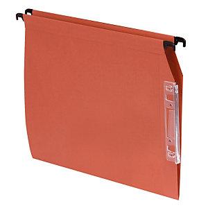 100 dossiers Kraft 220g 1er prix  fond V pour armoires coloris orange