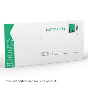 100 enveloppes prêt à poster 20 g Lettre Verte format 110 X 220 mm