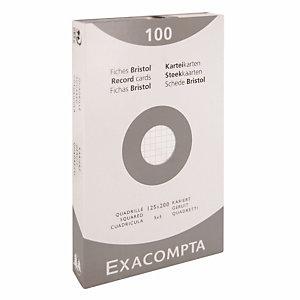100 fiches bristol quadrillées  12,5 x 20 cm  Exacompta coloris blanc, la boîte