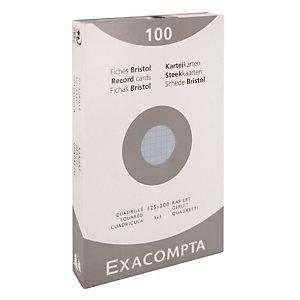 100 fiches bristol quadrillées 12,5 x 20 cm  Exacompta coloris bleu, la boîte