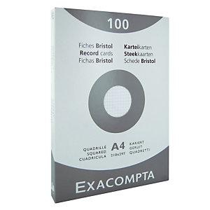 100 fiches bristol quadrillées  21 x 29,7 cm  Exacompta coloris blanc, la boîte