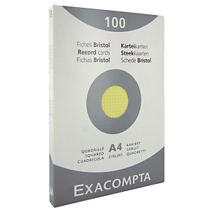 100 fiches bristol quadrillées  21 x 29,7 cm  Exacompta coloris jaune, la boîte