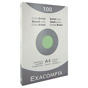 100 fiches bristol quadrillées  21 x 29,7 cm  Exacompta coloris vert, la boîte