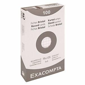 100 fiches bristol quadrillées  7,5 x 12,5 cm  Exacompta coloris blanc, la boîte