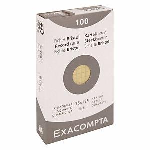100 fiches bristol quadrillées 7,5 x 12,5 cm  Exacompta coloris jaune, la boîte