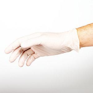 100 gants à usage court en latex non poudrés Mumu, taille L