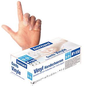 100 gants usage court vinyle Bernard taille 9 - 9½