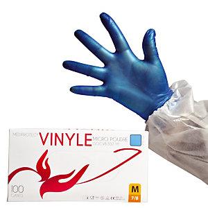 100 gants Vinyle bleu à usage court 1er prix taille 9
