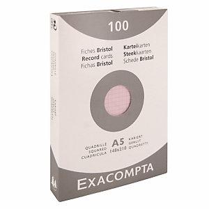 100 geruite bristol kaarten 10,5 x 14,8 cm  Exacompta kleur roze, per doos