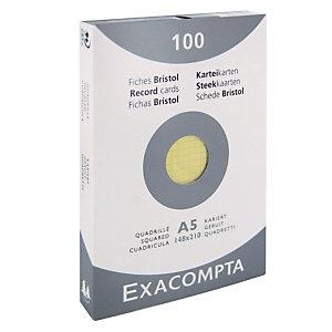 100 geruite bristol kaarten 14,8 x 21 cm  Exacompta kleur geel, per doos